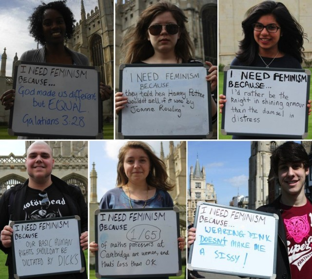 """photo grid of people holding up """"I need feminism becauase [reason]"""" signs"""