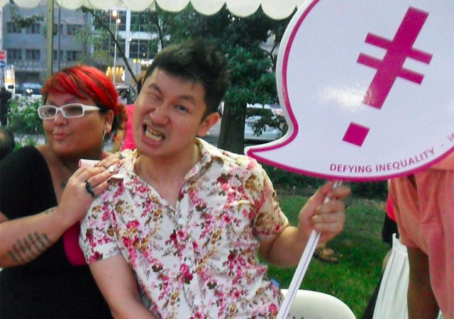 Tania De Rozario with co-organiser Ng Yi-Sheng promoting IndigNation at Pink Dot SG