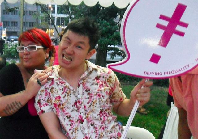 Tania De Rozario with co-organiser Ng Yi-Sheng promoting IndigNation at Pink Dot SG