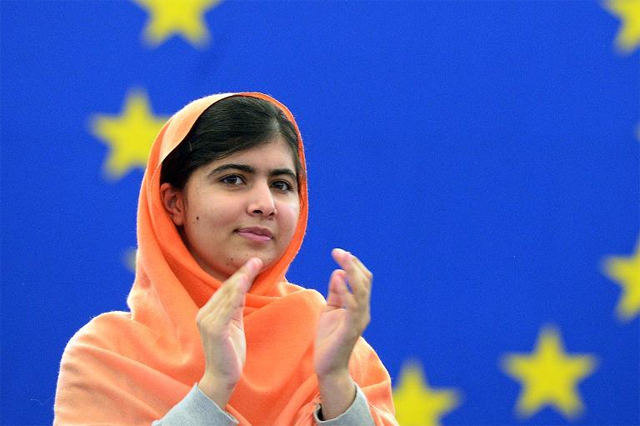 Malala Yousafzai receiving the Sakharov Prize at the European Parliament in Strasbourg, France via Yahoo! News