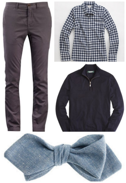 Pants / bow tie / gingham shirt / half-zip