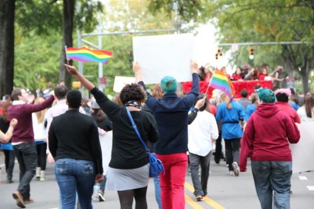 Students from Alabama's LGBTQ+ student group Spectrum infiltrating the University of Alabama Homecoming parade