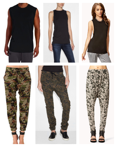Center images top and bottom show Veer NYC Muscle tee and Camo drop crotch pants as shown in feature image.  Left: Russel muscle tee / Obey camo pants Right: Forever21 Muscle tee / Forever21 deser camo pants