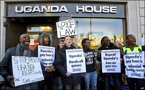 Protest outside Uganda House, London