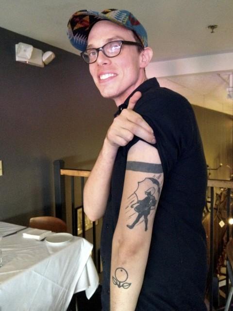 Chef Matt showing off his Morton Salt tattoo.