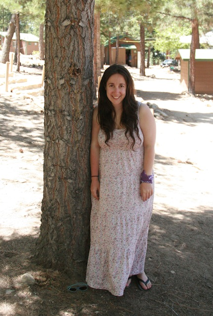 Vanessa at A-Camp in a floral print dress