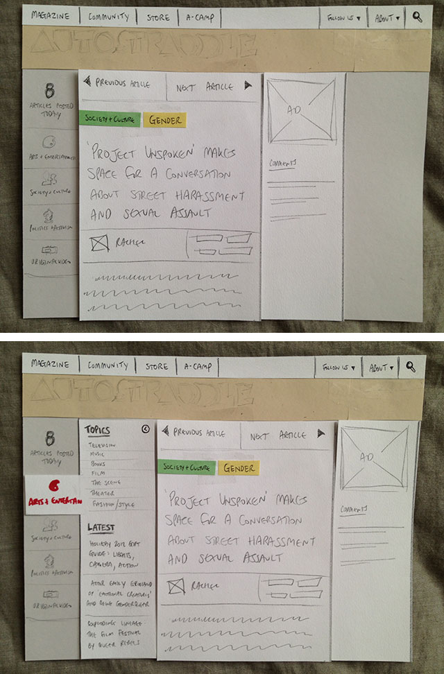 One of the first iterations/concepts of the new redesign, made with construction paper