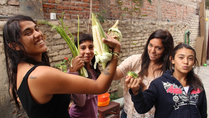 Real Food Power! With my Peruvian and Colombian cousins showing some real food love before cooking a delicious healthy meal for the family. Arequipa, Peru. 2013.
