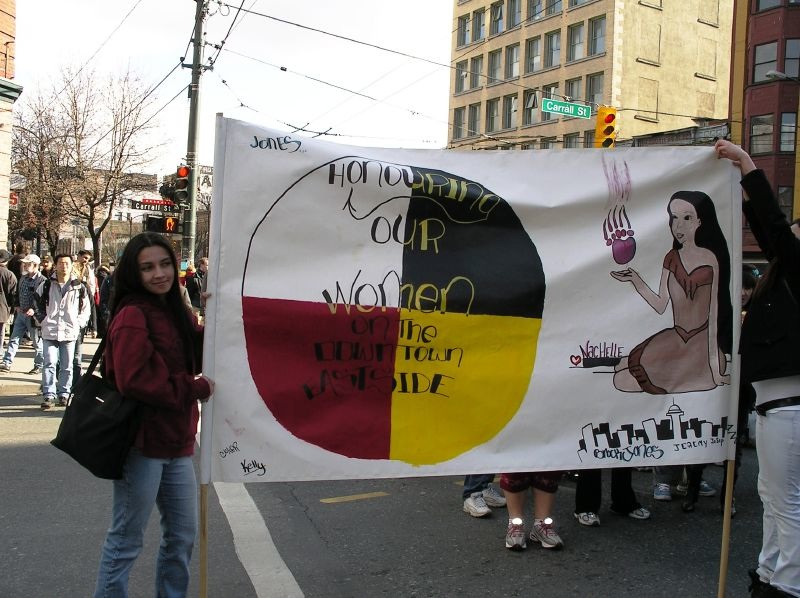 Women's memorial photo in Vancouver's Downtown Eastside, 2005,  flickr, credit Renegade98
