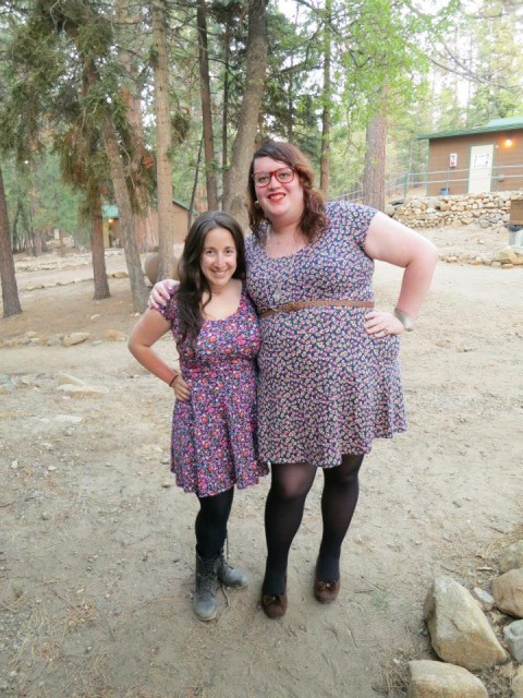 VANESSA AND MEY BEING FLORAL PRINT FRIENDS AT A-CAMP