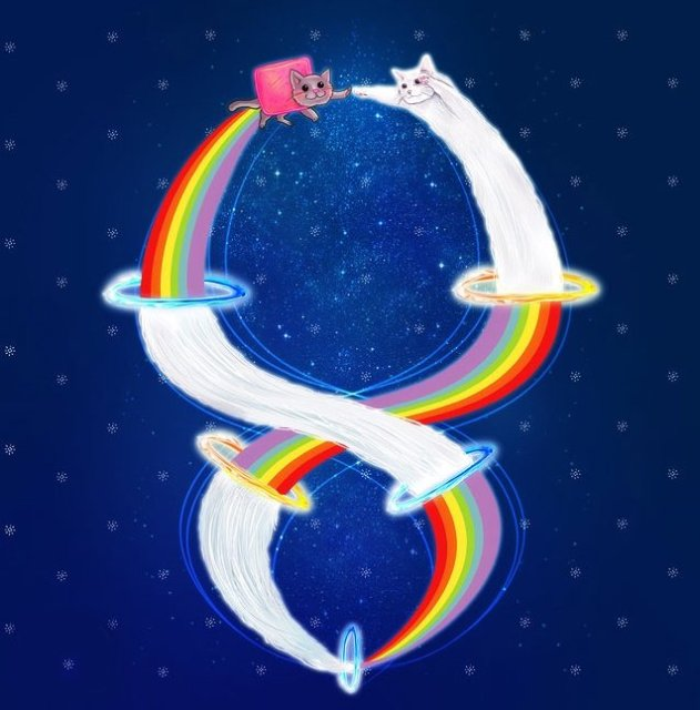 Nyan cat and long cat form an infinity sign in front of the night sky.