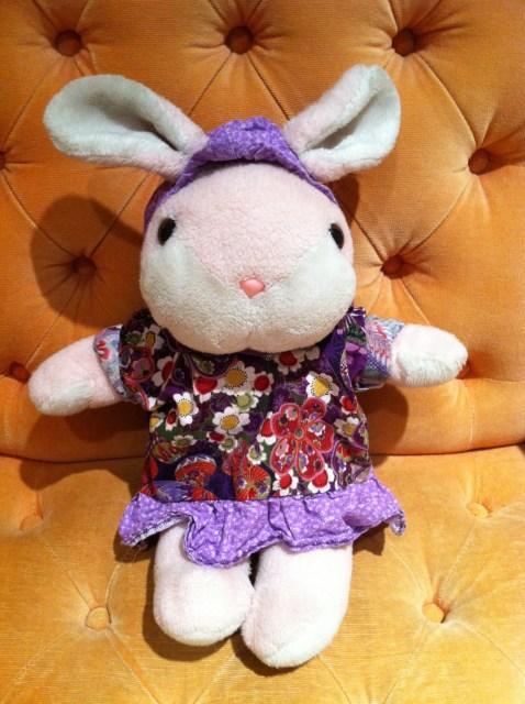My mom is awesome and made a kuspuk (an Alaska Native overshirt) for my childhood stuffed animal, Pink Bunny.