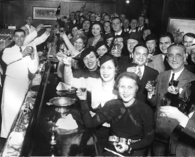 Chicagoans celebrate the repeal of Prohibition at the Congress Hotel, 1933. via KPBS