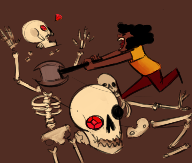 Raina laying the beat-down on some skeletons.