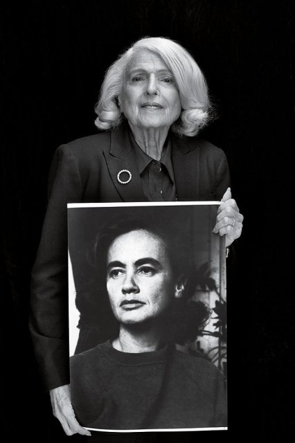 Edie Windsor holds a portrait of her wife, Thea Spyer.