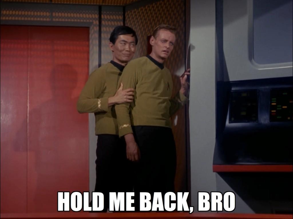 Poor Johnny is suffering from intense hetero desires, and Sulu restrains him.