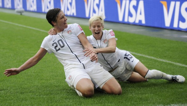 Megan Rapinoe and Abby Wambach, two professional athletes who advocate for queer rights and are also, you know, queer. via redding.com