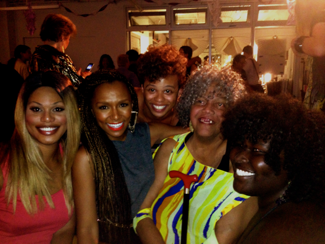 Laverne Cox with activists Janet Mock, Reina Gossett, Miss Major and Kokumo via SRLP