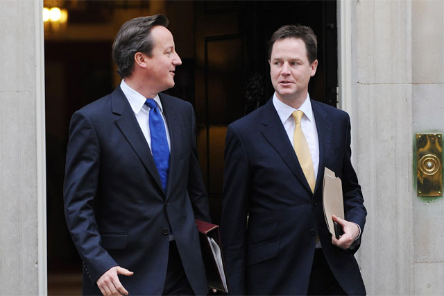 David Cameron and Nick Clegg, who are currently in power via The Daily Record