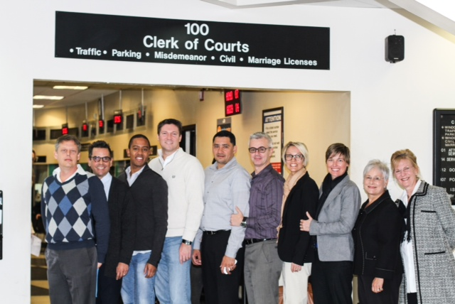 Plaintiff couples: Don Johnston and Jorge Diaz; Jeff and Todd Delmay; Dr. Juan Carlos Rodriguez and David Price; Vanessa and Melanie Alenier; Summer Greene and Pamela Faerber. Cathy Pareto and Karla Arguello are not pictured.