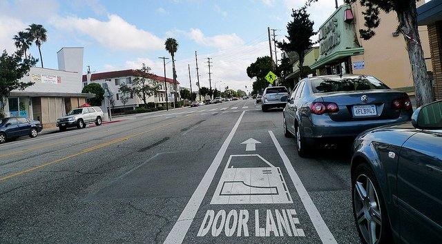 Bad bike lane placement 101 via Chris Baskind