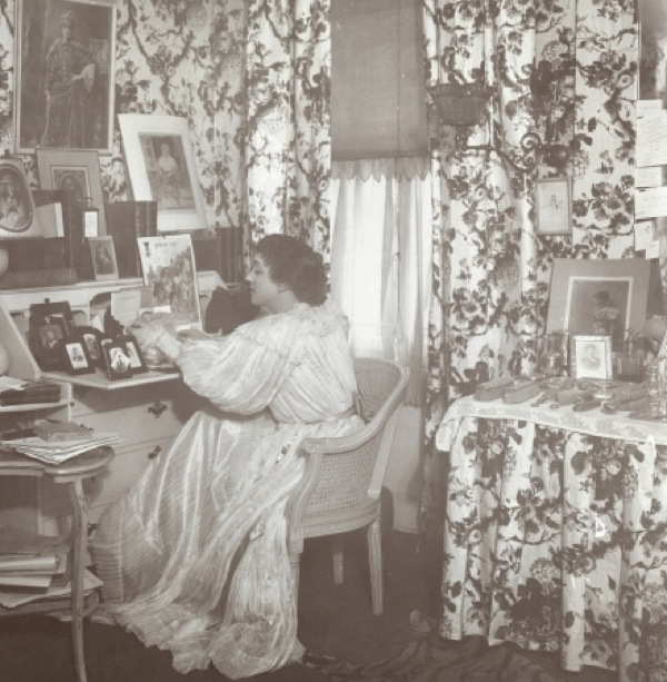 Interior designer Elsie de Wolfe in the sitting room of the home she shared with her partner Bessie Marbury. The two were kind of the original lesbian power couple.