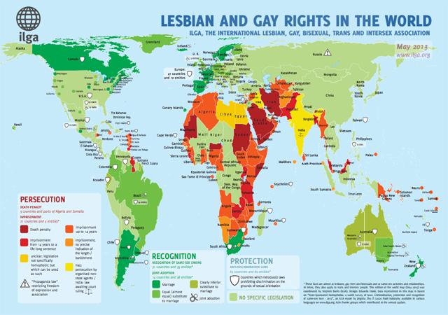 Summary map of LGBTI persecution, recognition and protection worldwide via ILGA