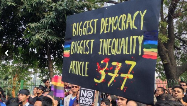 Anti-Section 377 protest in India via Think Progress