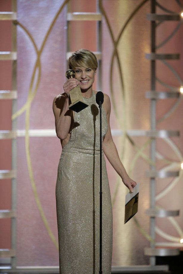 Matched her dress to her award. via LAtimes.com