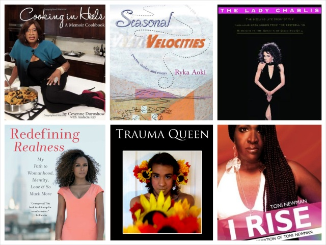 Clockwise from left: Cooking in Heels, Seasonal Velocities, Hiding my Candy, I Rise, Trauma Queen and Redefining Realness