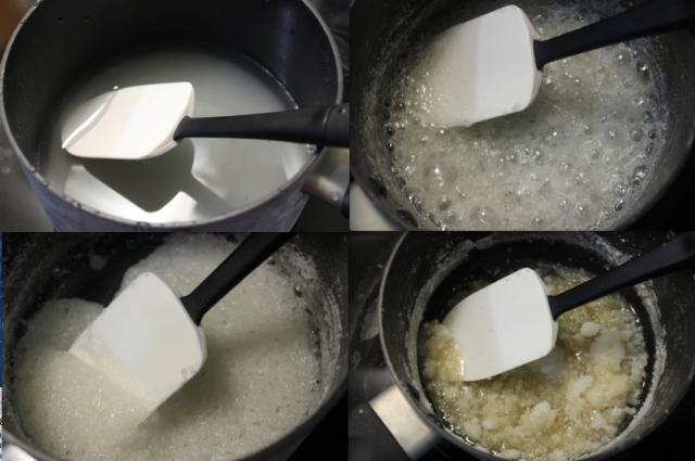 4 photos illustrating how to make caramel