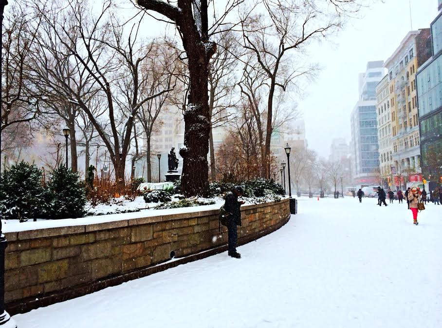 A snowy Union Square
