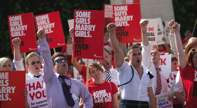 Stonewall campaigners outside Westminster Parliament via Japan Times