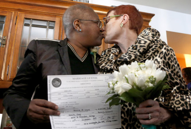 Vernita Gray (left), a Chicago activist, after marrying her partner Patricia Ewert. Gray ran the country's first lesbian and gay helpline out of her Chicago apartment.