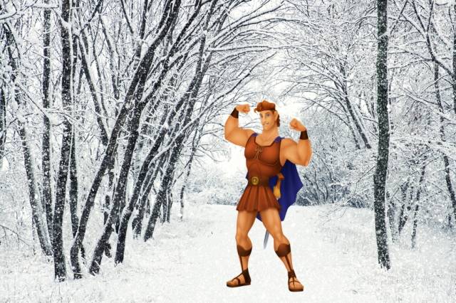 Hercules has a sword and cape, and therefore, needs no winter gear. via shutterstock.com and Wikia