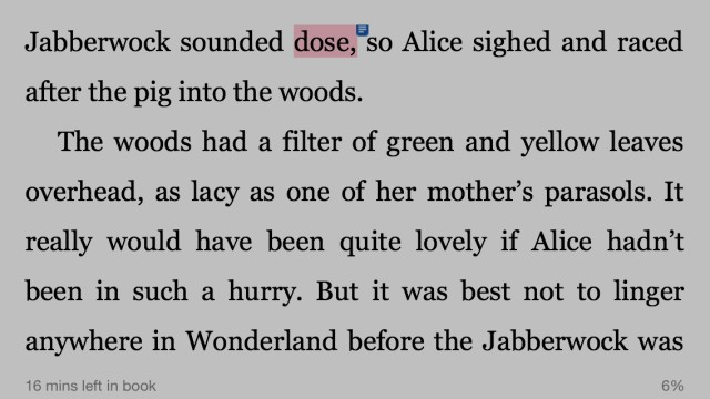 Common typo in the Kindle version of Jane Yolan's Twelve Impossible Things Before Breakfast.
