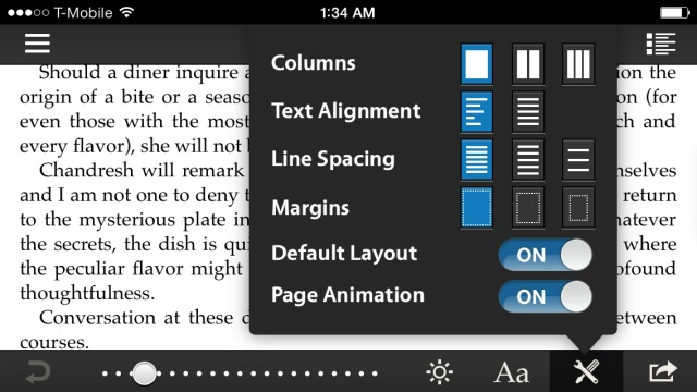 That's a lot of formatting options! Am I looking at a reading app or a word processor?