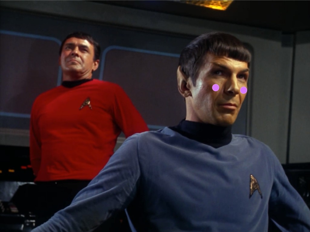 Spock is super impressed and about to drop his panties. Scotty's just happy to be alive.
