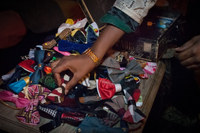Silki Smooth Harris arranges bowties from her accessories line, Ambiance Couture Bowtie. Copyright Joi Ong.