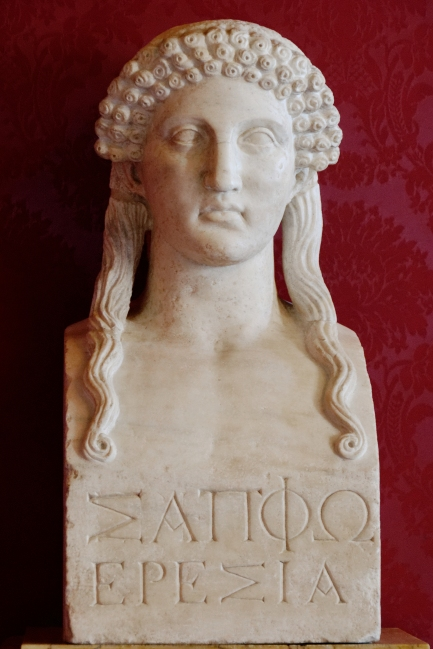 """Bust inscribed """"Sappho of Eressos,"""" Roman copy of a Greek original of the 5th century BC"""