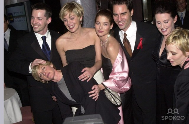 Sean Hayes, Ellen DeGeneres, Sharon Stone, Debra Messing, Eric McCormack, Megan Mullaly and Anne Heche at a 2000 HRC Gala