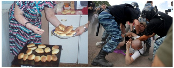 My Russian Experience, filled with grandma's pirozhkis and love (left) vs what I get to see on the news during said pirozhki-eating experiences.
