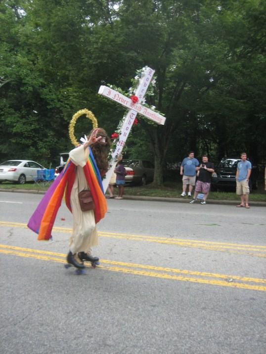 Rollerskating Jesus at Pride