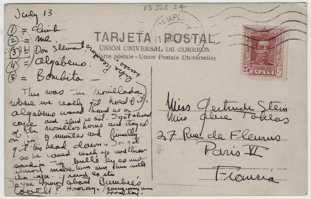 Lesbians love receiving postcards! Case in point: this gem from Ernest Hemingway to Gertrude Stein and Alice B. Toklas. (Via Beinecke Library)