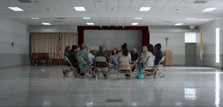 Maura in a trans discussion group. The other actors were trans.