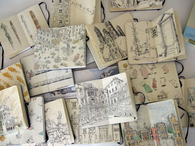 So many Moleskines, so little time. (Via Postcards From Far Away)