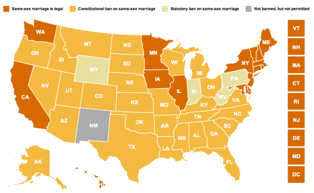 SAME-SEX MARRIAGE LEGALITY MAP. THERE'S A LOT OF YELLOW ON THIS THING. (VIA CNN)