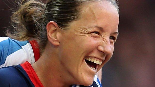 Stoney after scoring an Olympic goal via BBC Sport