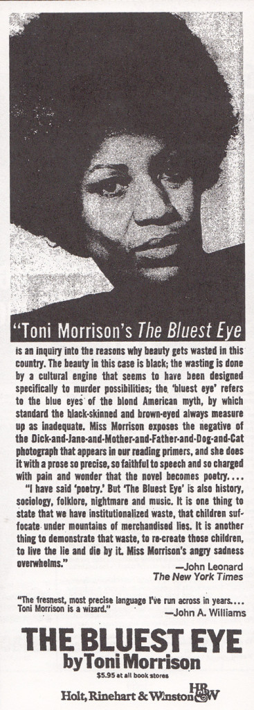 the ideal of beauty in toni morrisons the bluest eye Toni morrison the bluest eye toni morrison is the robert f goheen professor of humani-ties, emeritus at princeton university she has received the.