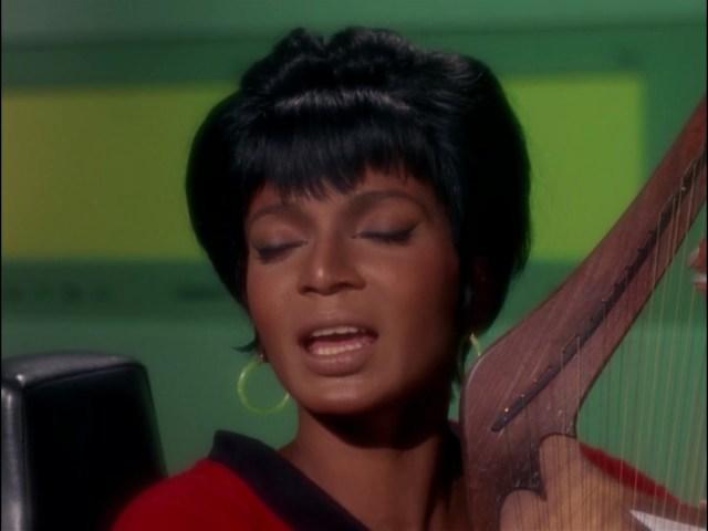 Uhura rockin' it on the Vulcan lyre.